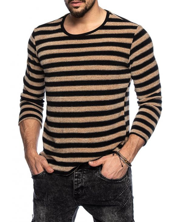 JANIS CREWNECK SWEATER IN BLACK AND CAMEL