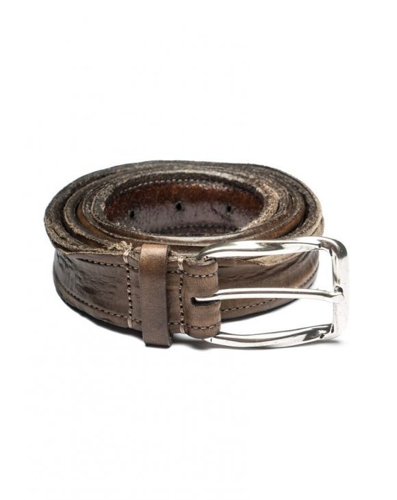 DISTRESSED LEATHER BELT WITH VINTAGE FINISH