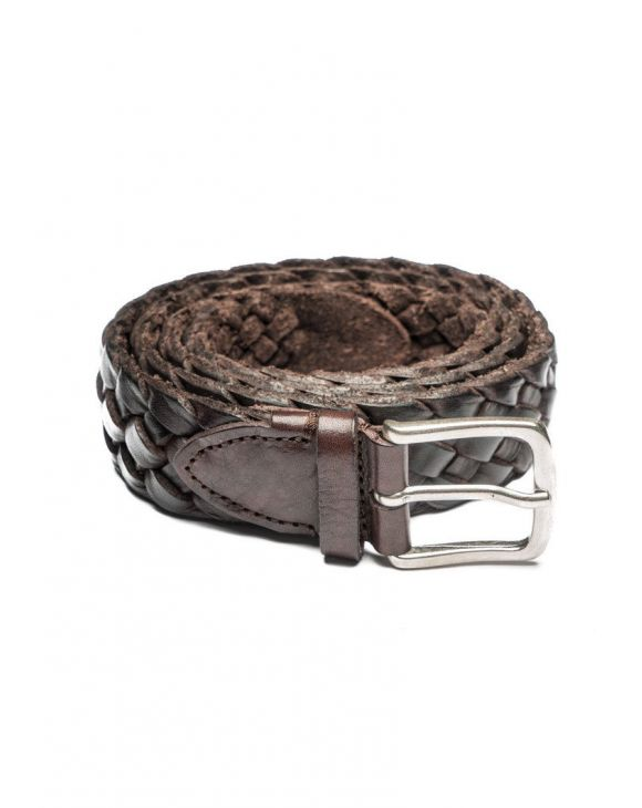 PLAITED LEATHER BELT IN BROWN