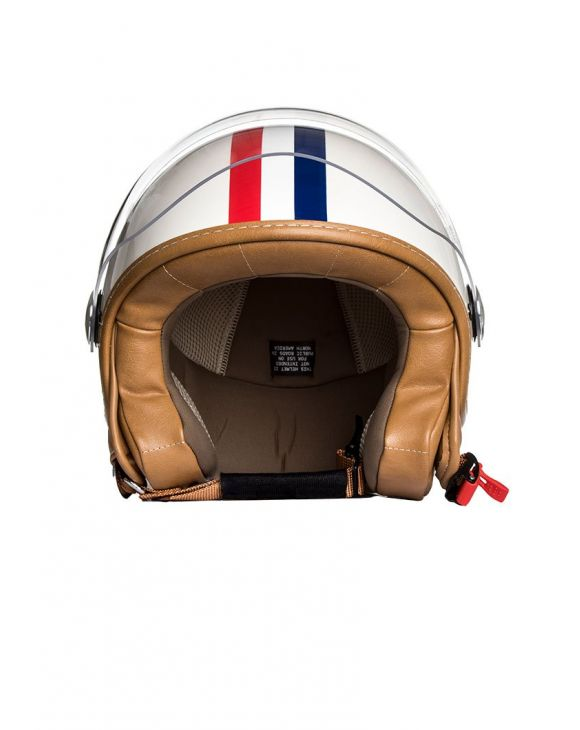 RETRO IVORY HELMET WITH RED AND BLUE STRIPES