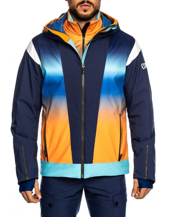 COLMAR JACKET IN BLU ORANGE AND YELLOW