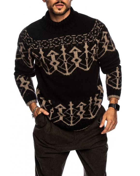 NORMANN SWEATER IN BLACK AND BROWN