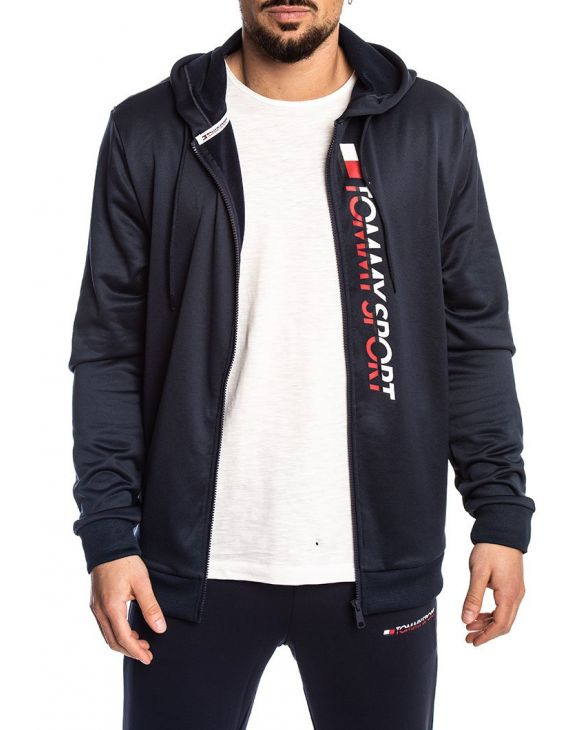 TOMMY SPORT ZIP THROUGH LOGO SUDADERA AZUL MARINO