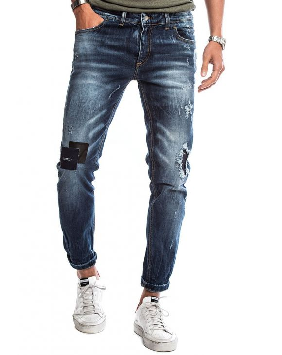 DAVIS PATCHED JEANS IN BLUE