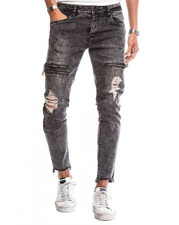 CURE ZIPPED JEANS IN DARK GREY
