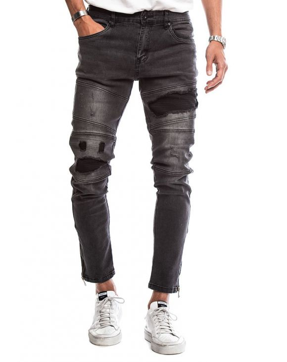 CURE PATCHED JEANS IN DARK GREY