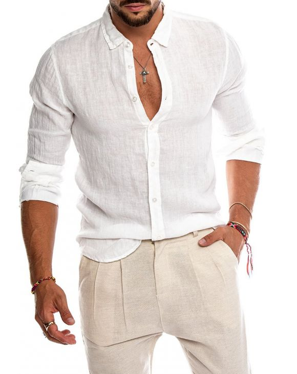 MOSES LINEN SHIRT IN WHITE