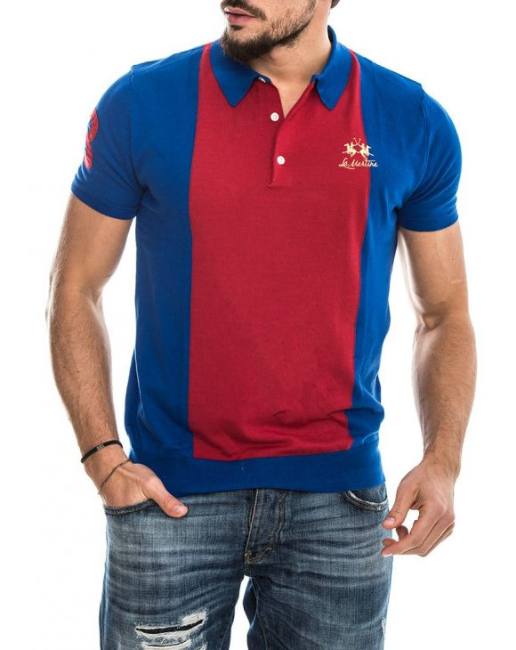 MAN SWATER NAUTICAL POLO IN BLAU