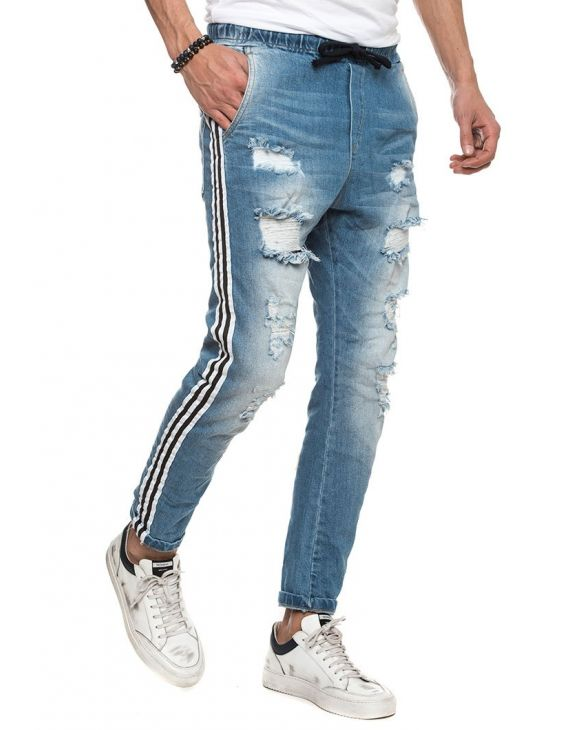 BLAIZE RIPPED JEANS WITH WHITE BANDS