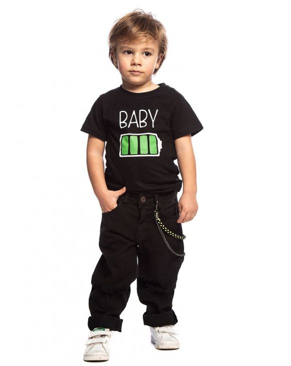 BABY CHARGE KIDS T-SHIRT IN BLACK