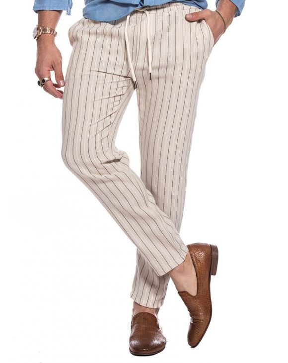 PAGOS CASUAL PANTS IN STRIPED BEIGE