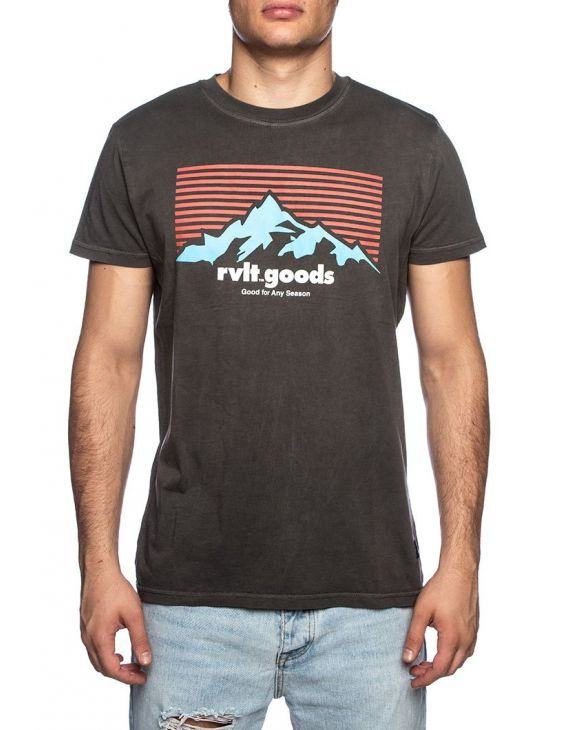 RVLT PEA PRINTED T-SHIRT IN BLACK