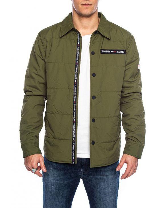 TJM PADDED COLLAR VELCRO JACKET IN GREEN