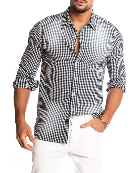 BAKU CHECKED SHIRT IN BLUE AND WHITE