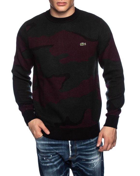 LACOSTE CAMO SWEATER IN GREY AND BORDEAUX