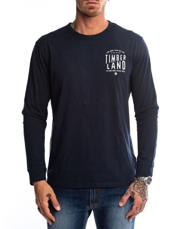 LS BACK GRAFISCHES T-SHIRT IN BLAUER MARINE