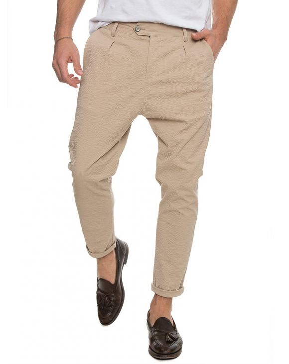 DUBAI SEERSUCKER TROUSERS IN SAND