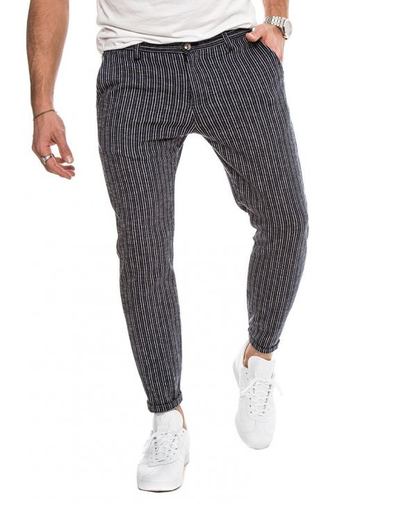 ANUBIS COTTON TROUSERS IN STRIPED BLUE