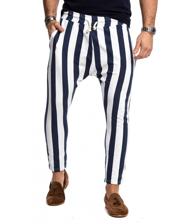V2 STRIPED CASUAL PANTS IN WHITE AND BLUE