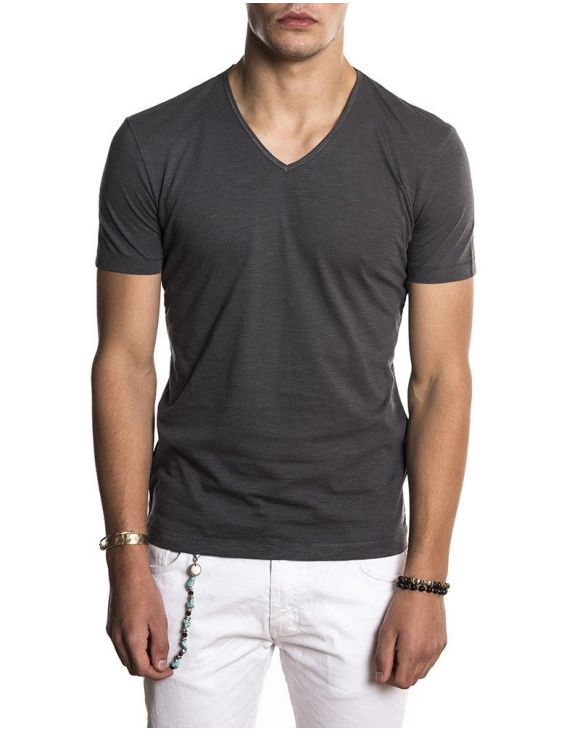 BASIC V DARK GREY T-SHIRT