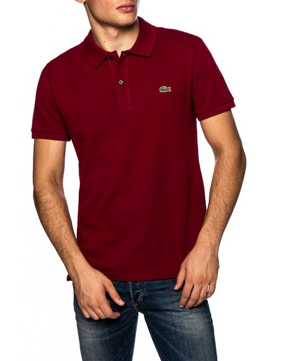 LACOSTE SLIM POLO IN BORDEAUX