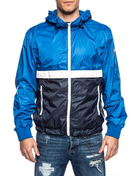 CONCRETE WATERPROOF JACKET IN BLUE COLOR BLOCK