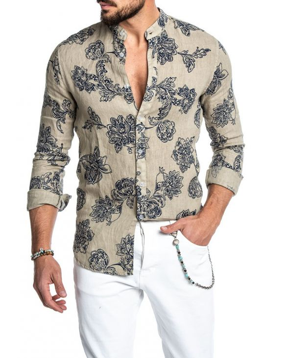 FLORAL KOREAN SHIRT IN HAVANA