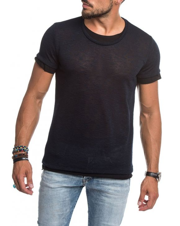 LAYERED NECK KNITTED T-SHIRT IN NAVY