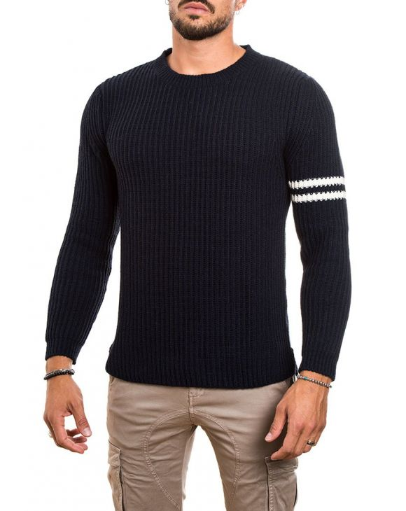 RIBBED SWEATER IN DARK BLUE