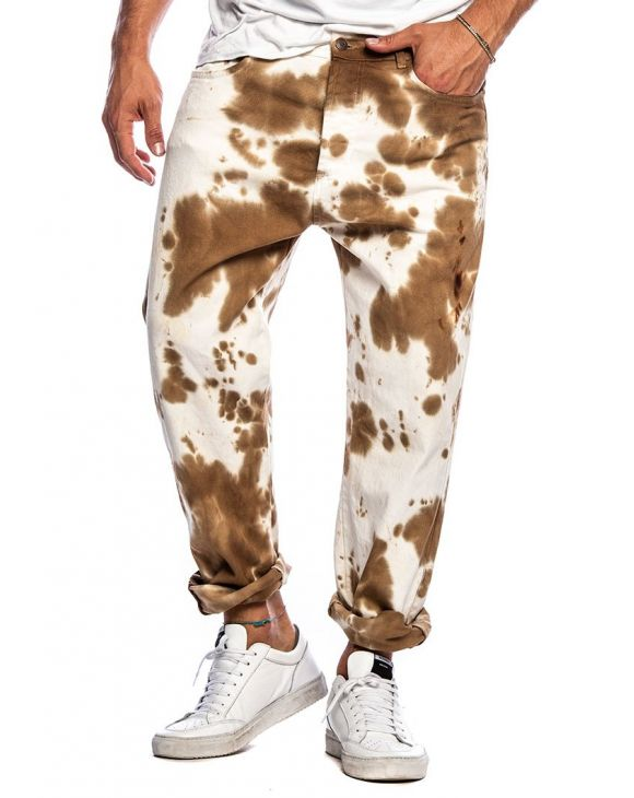 LENNOX PAINTED JEANS IN WHITE AND CAMEL