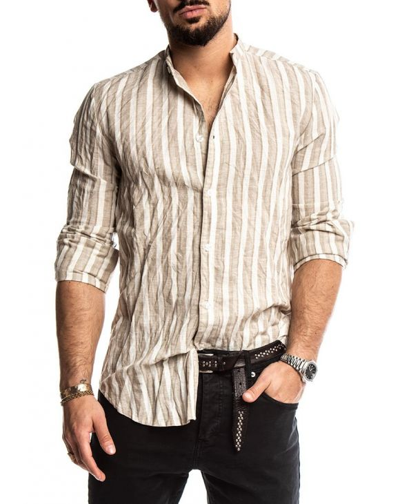 RILEY STRIPED SHIRT IN BEIGE AND WHITE