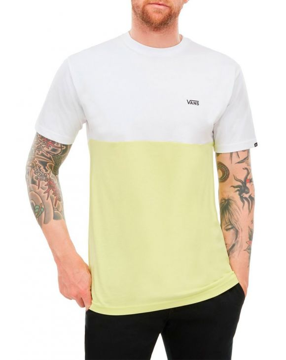 MN COLORBLOCK TEE IN WHITE AND YELLOW